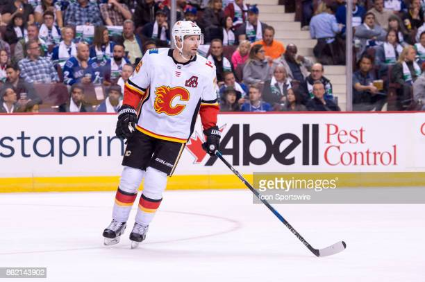 Calgary Flames Right Wing Troy Brouwer skates up ice during their NHL game against the Vancouver Canucks at Rogers Arena on October 14 2017 in...