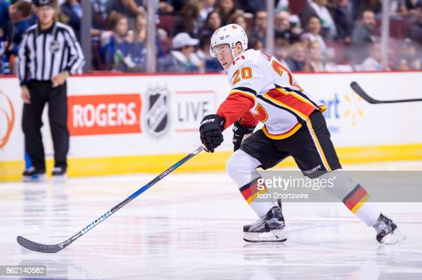 Calgary Flames Winger Curtis Lazar skates up ice during their NHL game against the Vancouver Canucks at Rogers Arena on October 14 2017 in Vancouver...