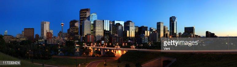 Calgary skyline at night in Canada