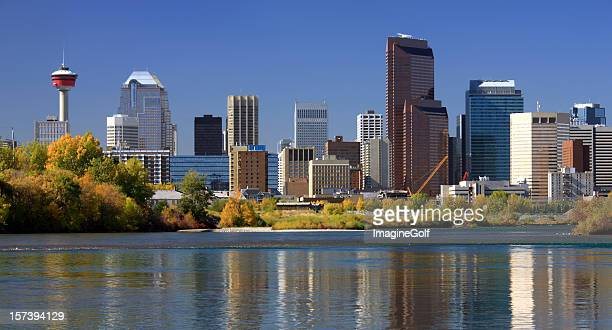 Calgary Skyline in Fall With Reflection in Bow River