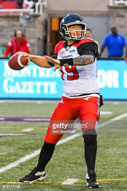 Calgary Stampeders quarterback Bo Levi Mitchell about to pass the ball during the Calgary Stampeders versus the Montreal Alouettes game on July 14 at...