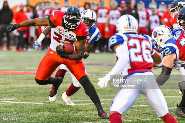 Calgary Stampeders running back Jerome Messam running with the ball during the Calgary Stampeders versus the Montreal Alouettes game on July 14 at...
