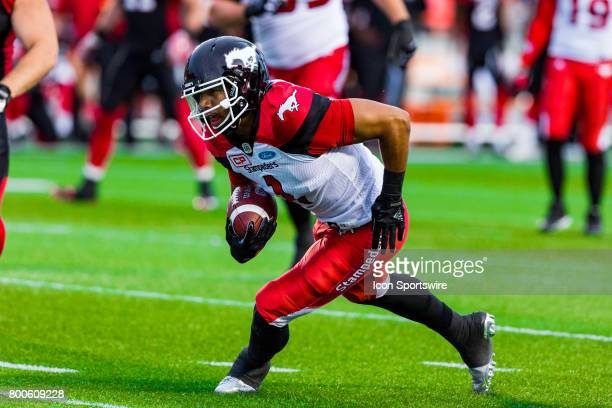 Calgary Stampeders wide receiver Lemar Durant runs with the football during Canadian Football League action between Calgary Stampeders and Ottawa...