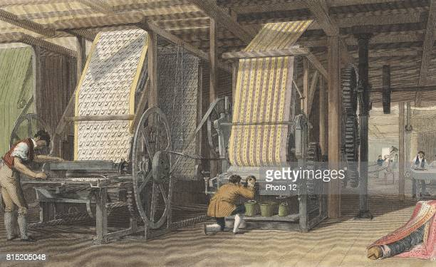 Calico printing machines powered by belt and shafting through cog wheels from a central energy source Handcoloured engraving London 1834
