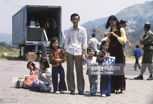 California 1975 Vietnamese Refugee Family At Camp Pendleton