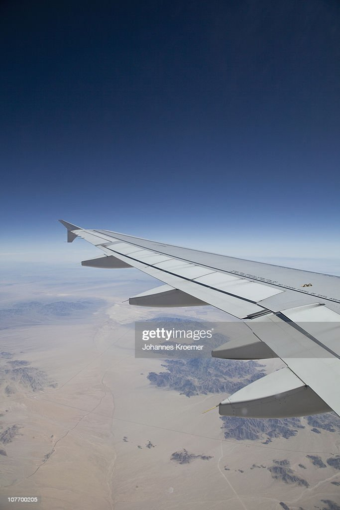USA, California, Aeroplane wing in flight