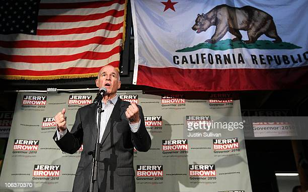 California Attorney General and Democratic gubernatorial candidate Jerry Brown speaks to supporters at his campaign headquarters to kick off a...
