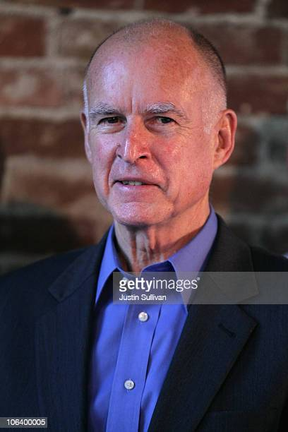 California attorney general and democratic gubernatorial candidate Jerry Brown looks on during a campaign rally at Broadway Heights restaurant...