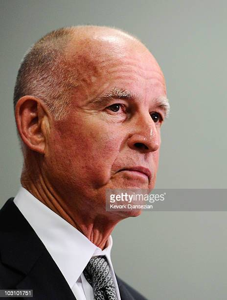 California Attorney General Jerry Brown speaks during a news conference on July 26 2010 in Los Angeles California Brown who is also the democratic...