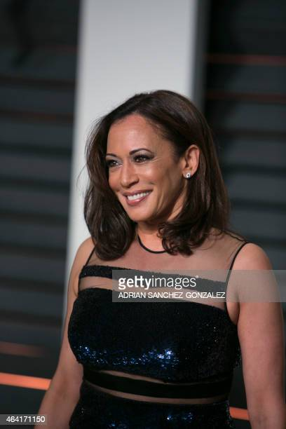California Attorney General Kamala Harris arrives to the 2015 Vanity Fair Oscar Party on February 22 2015 in Beverly Hills California AFP...