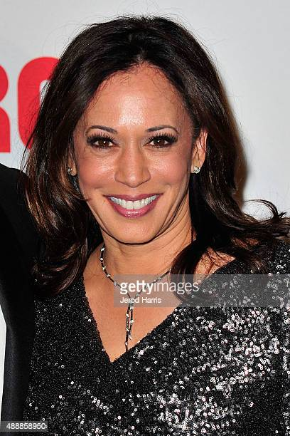 California Attorney General Kamala Harris attends The Broad Museum Black Tie Inaugural Dinner at The Broad on September 17 2015 in Los Angeles...