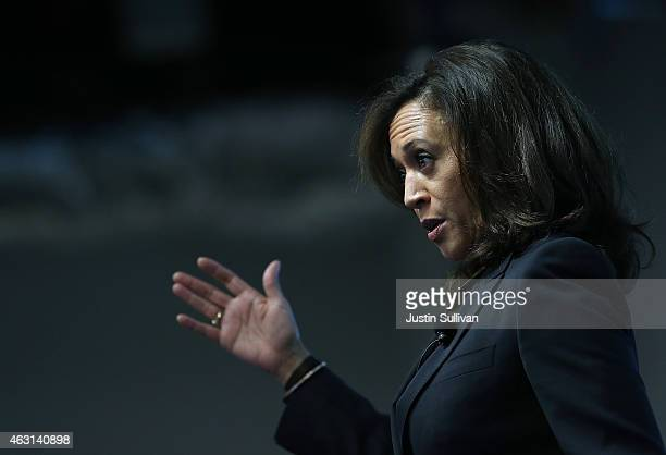 California Attorney General Kamala Harris delivers a keynote address during a Safer Internet Day event at Facebook headquarters on February 10 2015...