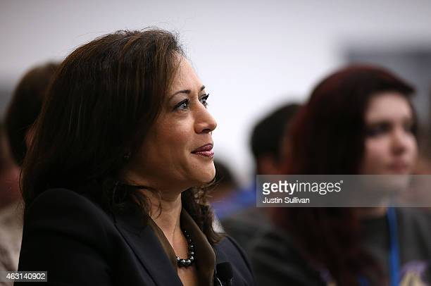 California Attorney General Kamala Harris looks on before delivering a keynote address during a Safer Internet Day event at Facebook headquarters on...