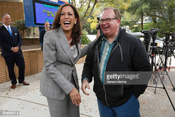 California Attorney General Kamala Harris running for the US Senate enjoys a light moment with Kenter Canyon Elementary Charter School Principal Dr...