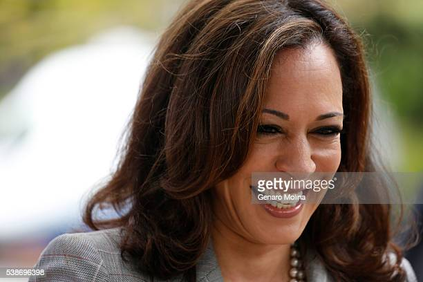 BRENTWOOD CA JUNE 7 2016 California Attorney General Kamala Harris running for the US Senate is all smiles after casting her vote at the Kenter...
