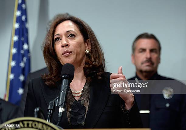 California Attorney General Kamala Harris speaks at a news conference on May 17 2013 at the Los Angeles Civic Center in Los Angeles California Harris...