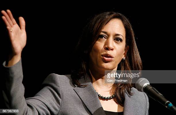 LOS ANGELES CALIFORNIA JANUARY 30 2015 California Attorney General Kamala Harris speaks at Akerman Student Union on the campus of UCLA on January 30...