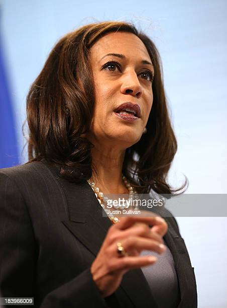 California Attorney General Kamala Harris speaks during a news conference on October 10 2013 in San Francisco California Harris announced the filing...
