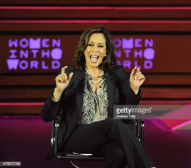 California Attorney General Kamala Harris speaks on stage during the Women in the World Summit held In New York on April 23 2015 in New York City