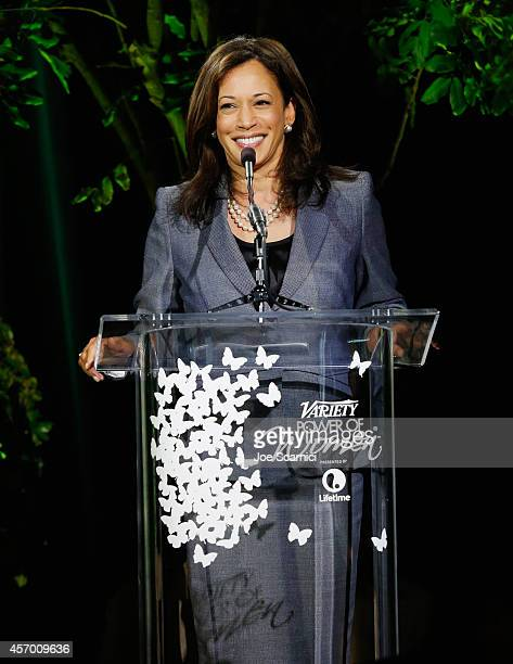 California Attorney General Kamala Harris speaks onstage at 2014 Variety Power of Women presented by Lifetime at Beverly Wilshire Four Seasons on...
