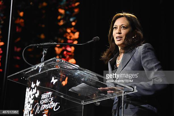California Attorney General Kamala Harris speaks onstage at the 2014 Variety Power of Women presented by Lifetime at Beverly Wilshire Four Seasons on...
