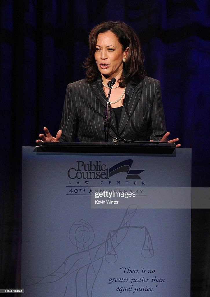California Attorney General Kamala Harris speaks onstage at the Public Counsel's William O. Douglas Award Dinner held at the Beverly Hilton Hotel on March 18, 2011 in Beverly Hills, California.