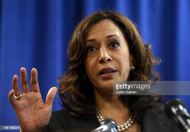 California Attorney General Kamala Harris speaks to reporters after California Governor Jerry Brown signed the California Homeowner Bill of Rights on...