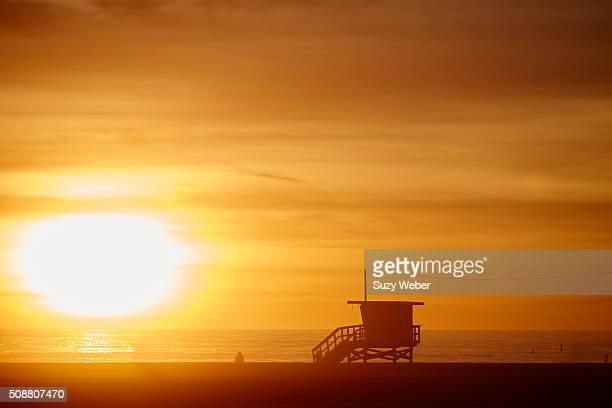 california beach sunset: lifeguard station