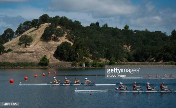 California Berkeley crosses the finish line with a winning time of 70960 in the Div l Fours during the Division I Women's Rowing Championship hosted...