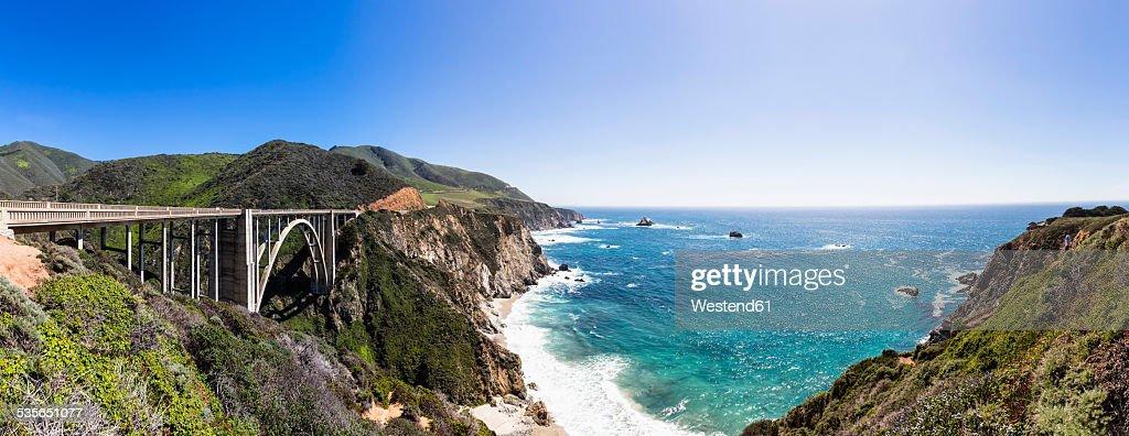 USA, California, Big Sur, Pacific Coast, National Scenic Byway, Bixby Creek Bridge, California State Route 1, Highway 1, Panorama