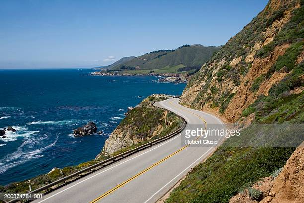 USA, California, Big Sur, Route 1 and coastline, elevated view
