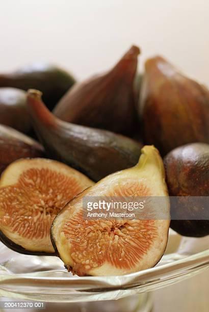 California black mission figs on glass dish
