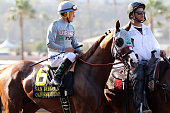 California Chrome with jockey Victor Espinoza up before the San Diego Handicap on July 23 2016 at Del Mar Race Track Del Mar CA