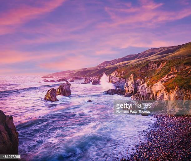 California coastline at dusk