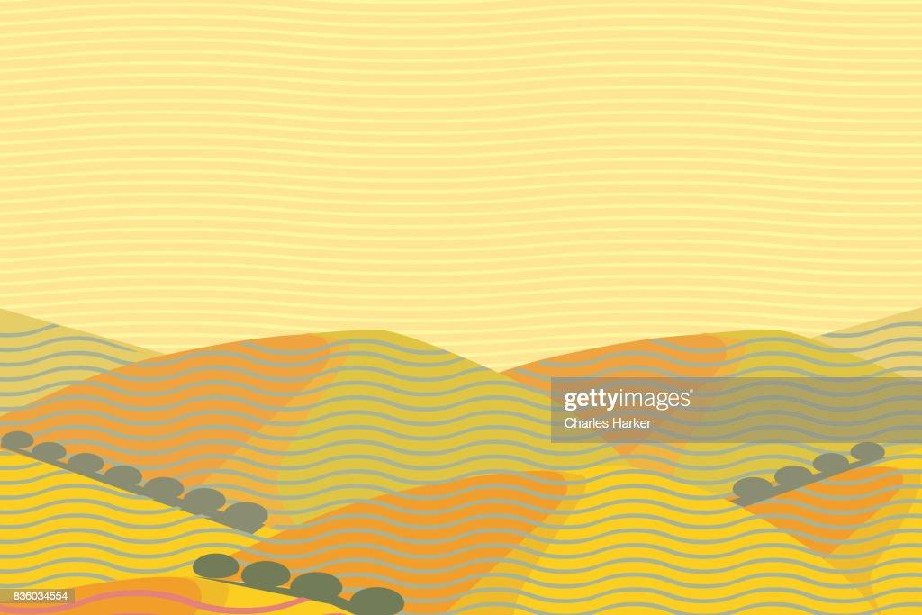California Dry Hills Landscape Illustration : Stock Photo