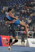 California Eagles compete against Royal Kings USA during the 2014 World Kabaddi league tournament at International Hockey Stadium on 3rd October 2014...