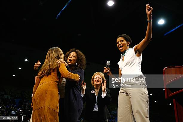 California First Lady Maria Shriver makes a surprise appearance hugging television host Oprah Winfrey as Los Angeles labor leader Maria Elena Durazo...