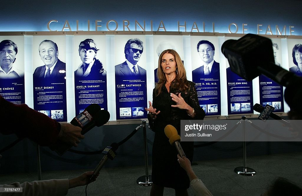 California first lady Maria Shriver speaks to members of the media before the induction of the first ever California Hall of Fame December 6, 2006 in Sacramento, California. Shriver conceived of the Hall of Fame, which will induct Ronald Reagan, Cesar Chavez, Walt Disney, Amelia Earhart, Clint Eastwood, Frank Gehry, David D. Ho, Billie Jean King, John Muir, Sally Ride, Alice Walker and the Hearst and Packard families.