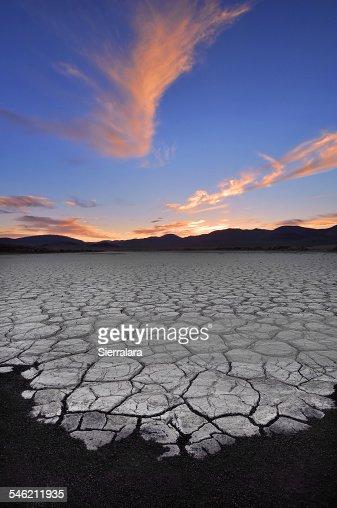 USA, California, Fossil Falls, Sunrise Over Dry lake