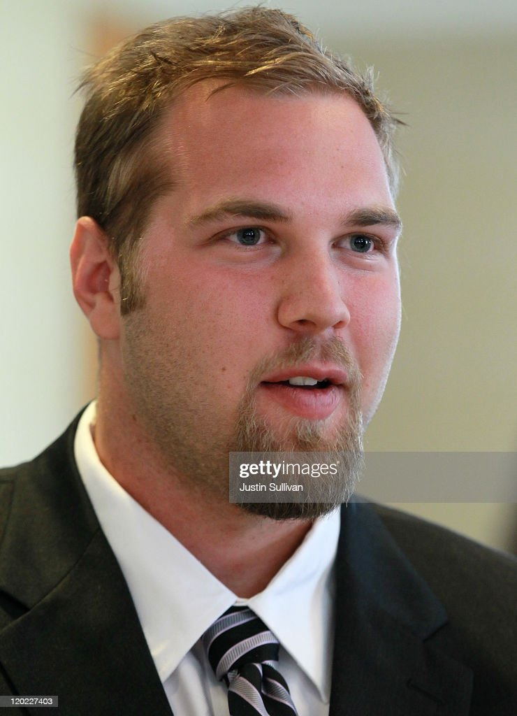 California Golden Bears football offensive lineman Mitchell Schwartz speaks to reporters during the Bay Area college football media day at the Hotel Nikko on August 1, 2011 in San Francisco, California. Players and coaches from Stanford, Cal and San Jose State football programs met with reporters ahead of the new season during Bay Area college football media day.