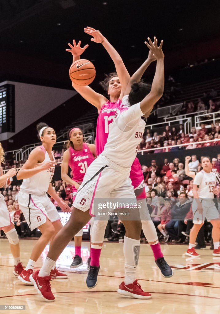 California Golden Bears forward Penina Davidson (12) knocks a rebound loose from Stanford Cardinal forward Nadia Fingall (4) during the game between the California Golden Bears and the Stanford Cardinals on Thursday, February 15, 2018 at Maples Pavilion, Stanford, CA.