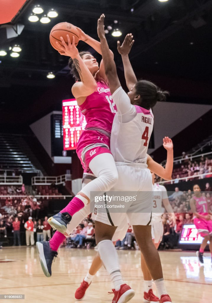 California Golden Bears forward Penina Davidson (12) lays up a basket during the game between the California Golden Bears and the Stanford Cardinals on Thursday, February 15, 2018 at Maples Pavilion, Stanford, CA.