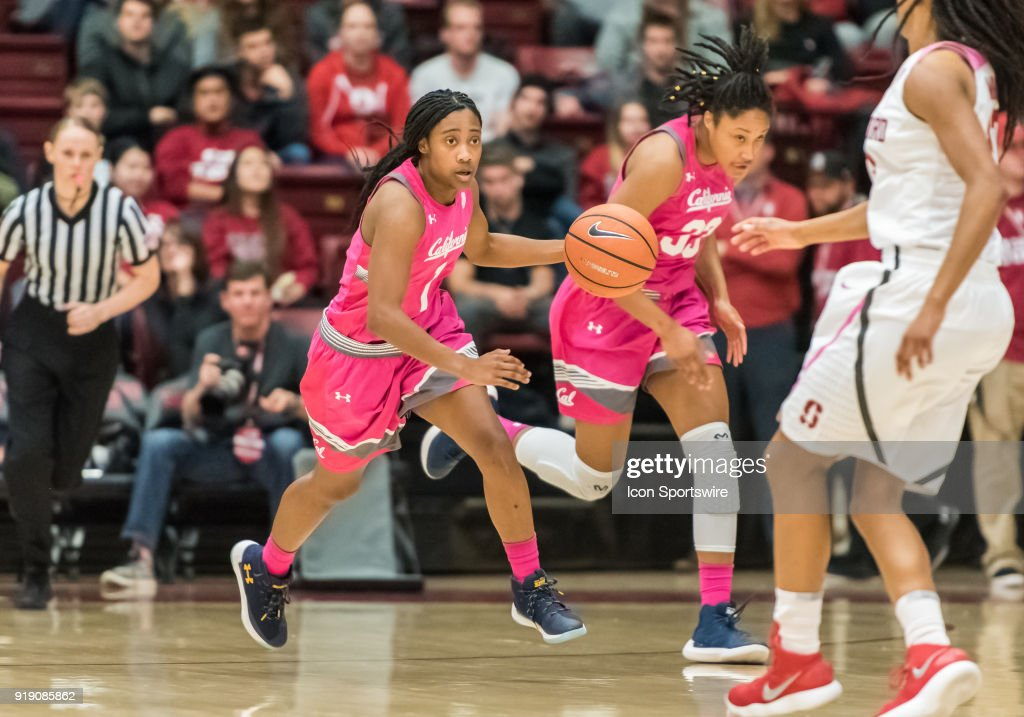 California Golden Bears guard Asha Thomas (1) drives the ball back up court during the game between the California Golden Bears and the Stanford Cardinals on Thursday, February 15, 2018 at Maples Pavilion, Stanford, CA.
