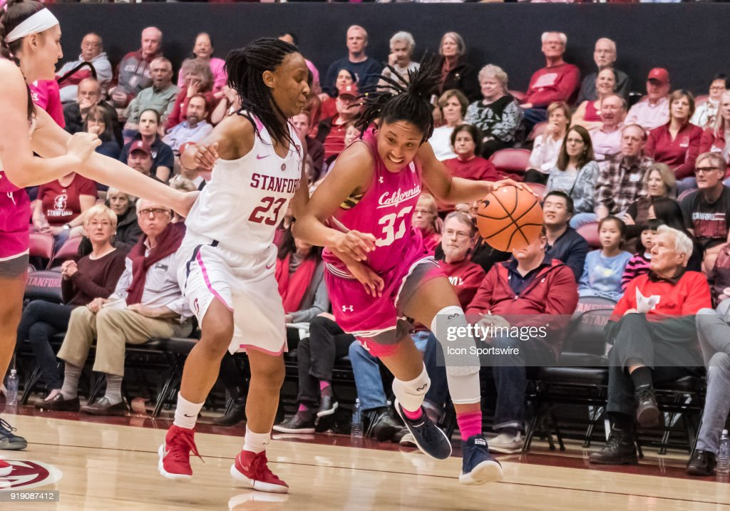 California Golden Bears guard Jaelyn Brown (33) moves the ball toward the basket around Stanford Cardinal guard Kiana Williams (23) during the game between the California Golden Bears and the Stanford Cardinals on Thursday, February 15, 2018 at Maples Pavilion, Stanford, CA.