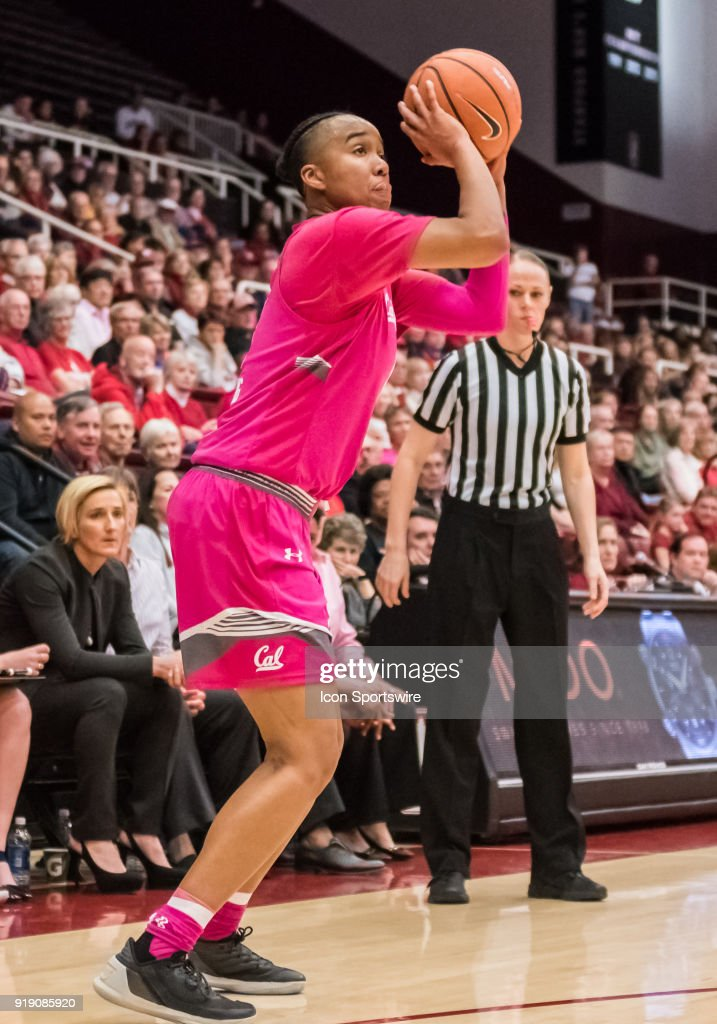 California Golden Bears guard/forward Mikayla Cowling (3) gets a 3-point shot during the game between the California Golden Bears and the Stanford Cardinals on Thursday, February 15, 2018 at Maples Pavilion, Stanford, CA.