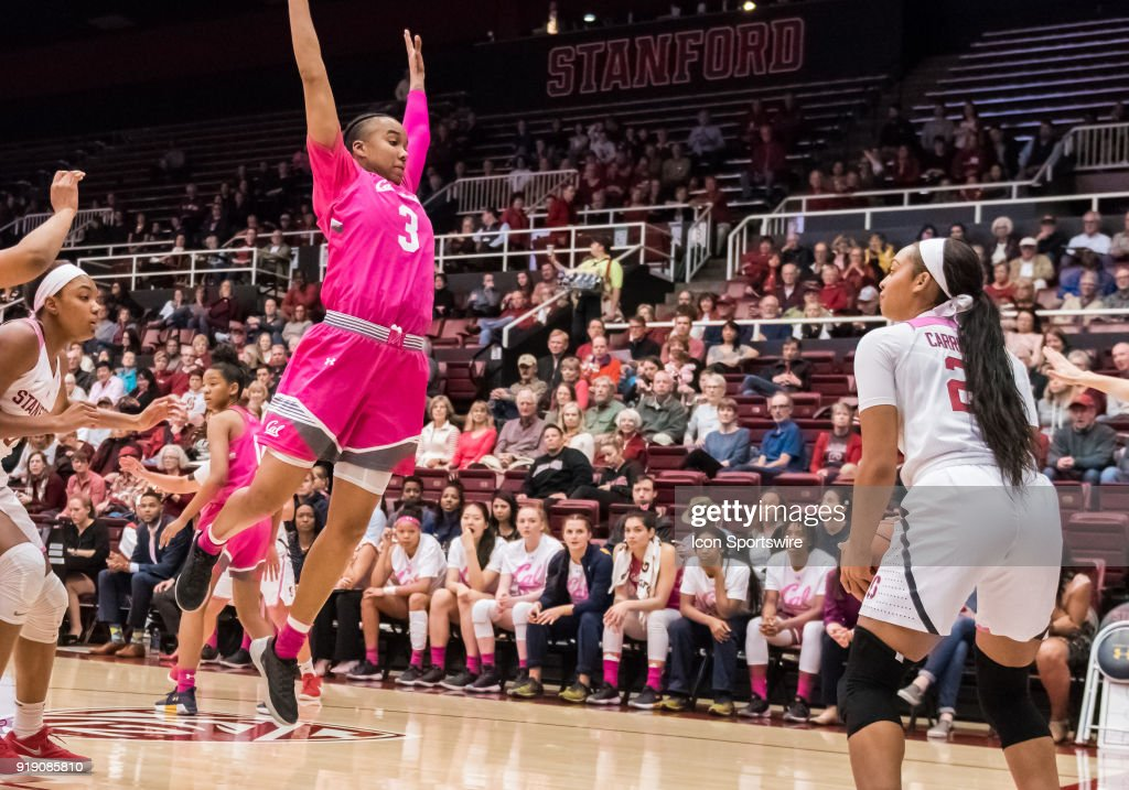 California Golden Bears guard/forward Mikayla Cowling (3) puts up a screen for Stanford Cardinal guard Dijonai Carrington (21) on an inbound pass during the game between the California Golden Bears and the Stanford Cardinals on Thursday, February 15, 2018 at Maples Pavilion, Stanford, CA.