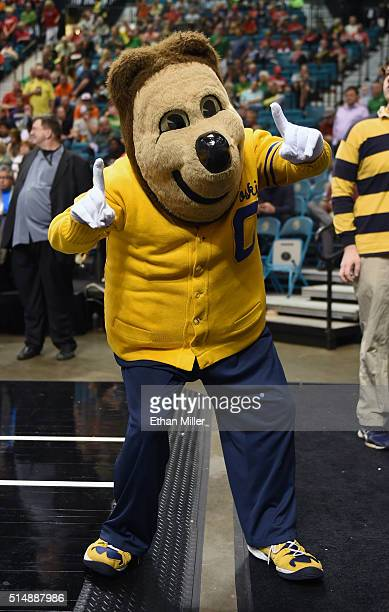 California Golden Bears mascot Oski the Bear poses before the team's quarterfinal game of the Pac12 Basketball Tournament against the Oregon State...