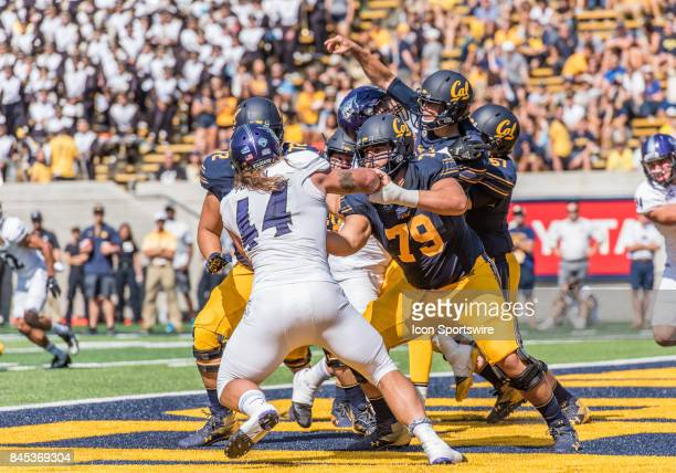 California Golden Bears offensive lineman Patrick Mekari keeps Weber State Wildcats defensive lineman Cardon Malan away from California Golden Bears...
