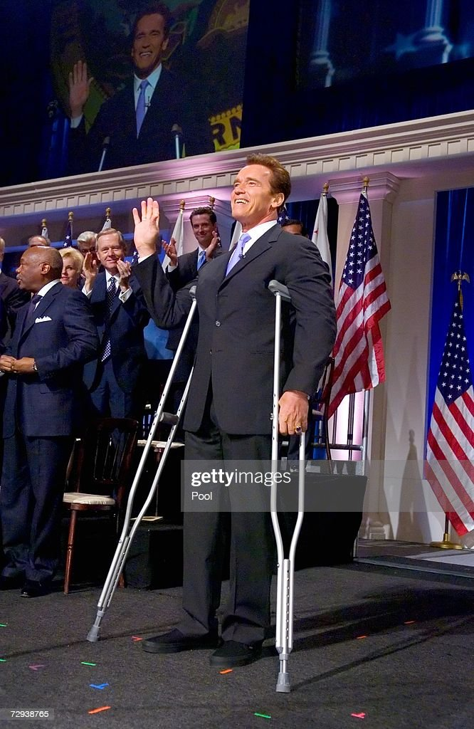 California Gov. Arnold Schwarzenegger acknowledges the crowd onstage for his inauguration for a second term in the Memorial Auditorium January 5, 2007 in Sacramento California.
