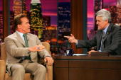 California Gov Arnold Schwarzenegger appears with host Jay Leno on 'The Tonight Show with Jay Leno' June 24 2005 at NBC Studios in Burbank California